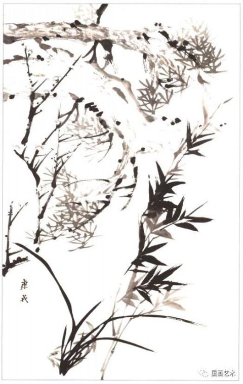 画法举要(二) 步骤一:以兰叶的主方向定下大势,使兰花形成8位右发左势