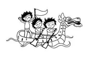 龙舟的简笔画图案