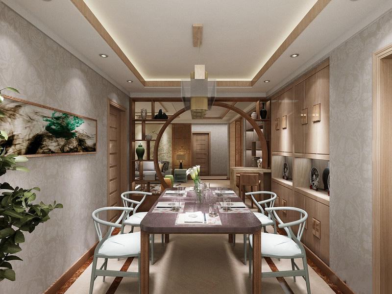 本案以新中式风格为主,设计师融入了富含禅意的东方情节和晋派文化的