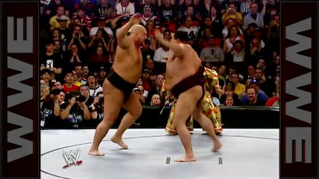 2005摔跤狂热大赛 大秀哥挑战相扑冠军曙太郎被直接扔出擂台
