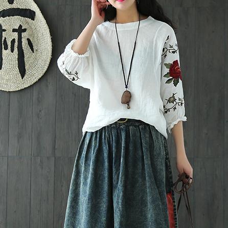 棉麻半身裙_今年巨流行的棉麻短袖T恤, 搭配阔腿裤或半身裙显白褶肤色
