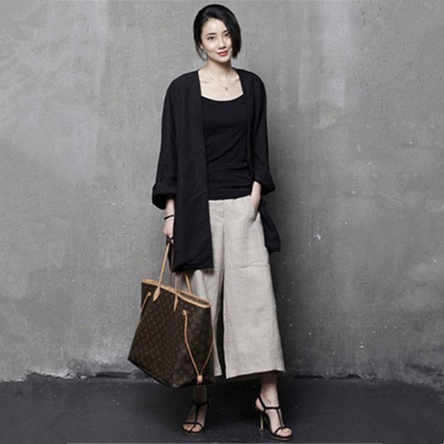 亚麻半身裙_漂亮挑来选去女人还是穿衬衫精致, 下身搭配棉麻阔腿裤或半身裙都好看