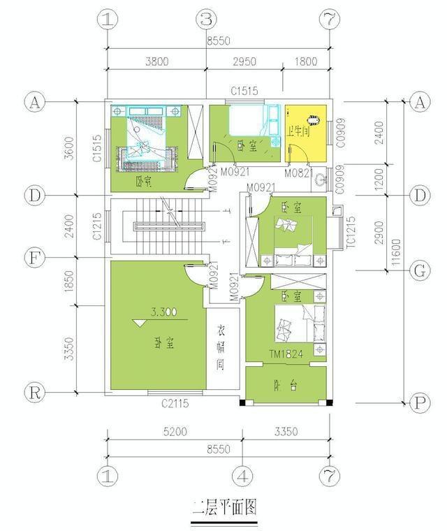 8.5米宽x11米深贡献设计图展示_设计图分享spss累计房子图绘制图片