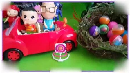 猪猪侠教粉红猪小妹拆惊喜蛋玩具,猫和老鼠 大耳朵图图 比得兔