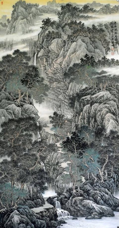 美协会员林德坤 手绘原创真迹(精品)山水画《瀑鸣撼幽谷》[作品来源