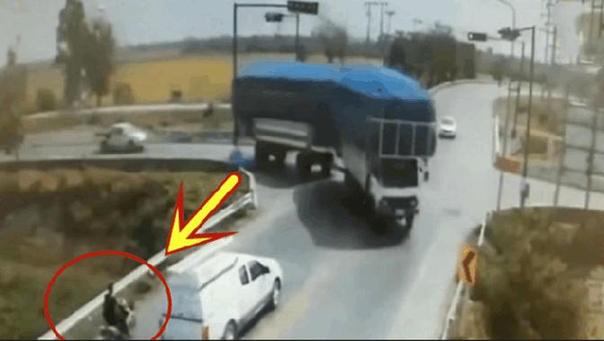 男子停下等车,谁知到死也没明白,大货车是怎么出现的