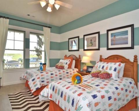 儿童房两张单人床房间设计图展示图片