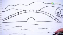杭州美景西湖断桥, 儿童简笔画绘画场景早教教程大全图片