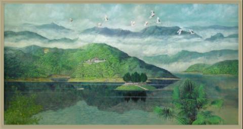 丰富的色彩运用和宏大的整体叙事方式描绘了武夷山雄伟壮观的大王峰