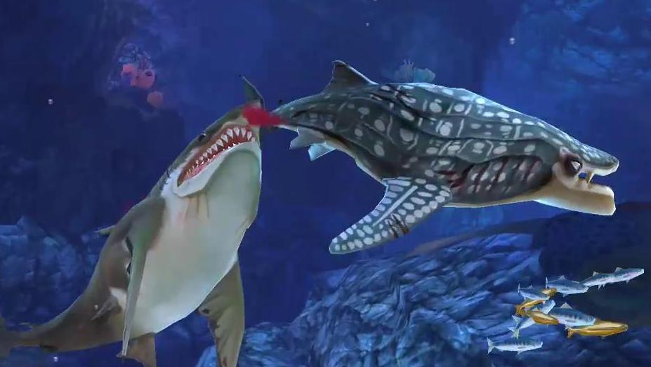饥饿鲨世界: 巨齿鲨PK鲸鲨,谁能笑到最后?