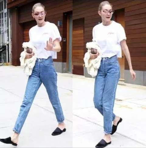 白色t恤 牛仔裤的look休闲随意, 更是明星机场街拍的宠儿!