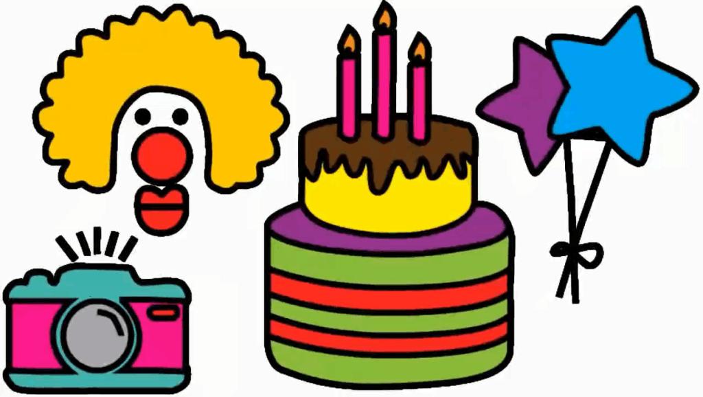 打开 早教学画画,教孩子简笔画生日舞会常见的小丑,大蛋糕和星星气球