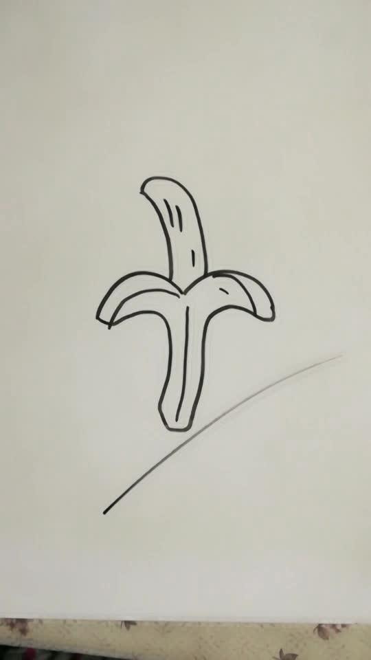 水彩笔画香蕉简笔画视频,教儿童学画画步骤教程,乐成
