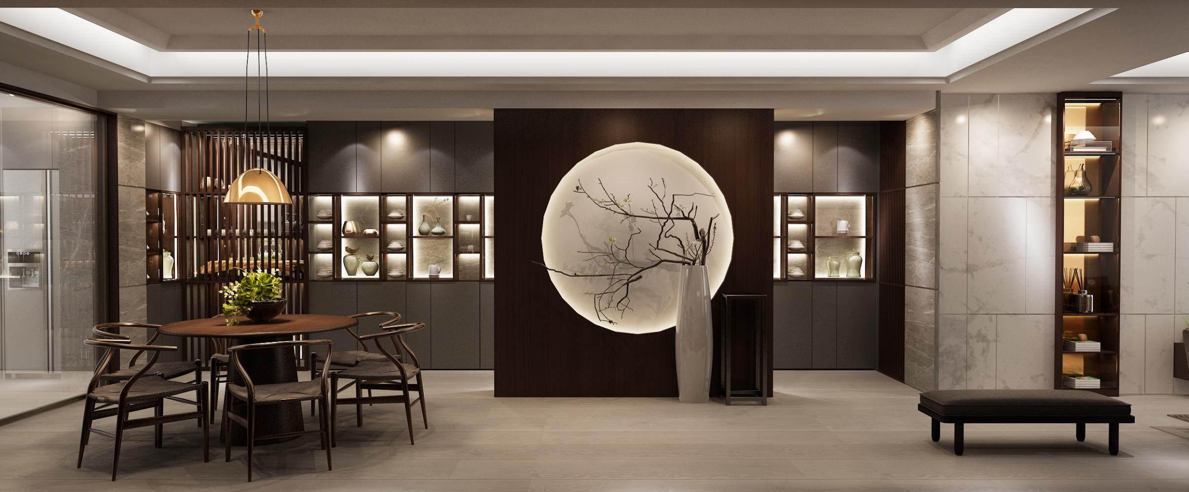 """入户的门厅设计太有中国中式的韵味了,除了柜子收纳的收藏品,那个""""月"""