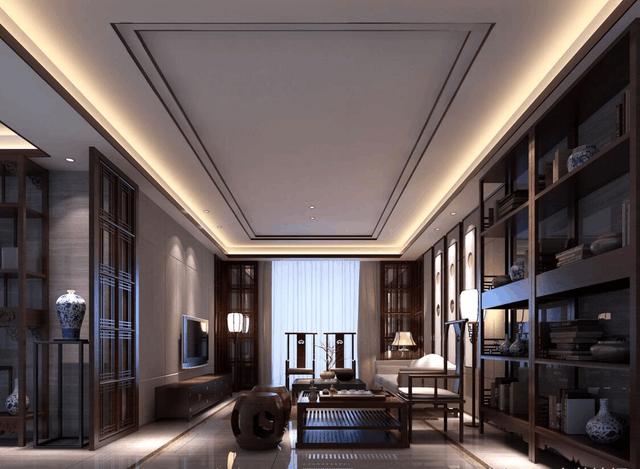 2017年新中式风格客厅电视背景墙吊顶装修效果图, 美观实用!