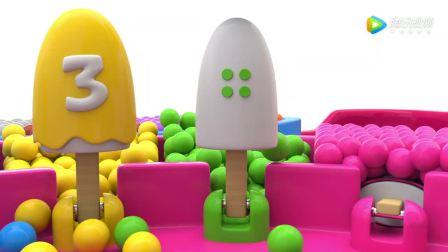 3D益智动画英语早教 小女孩与熊猫宝宝玩雪糕玩具学习颜色