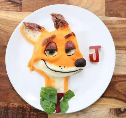 疯狂动物城》中的狐狸尼克:羊腿配甜土豆泥,菠菜,甜菜,无花果以及全麦