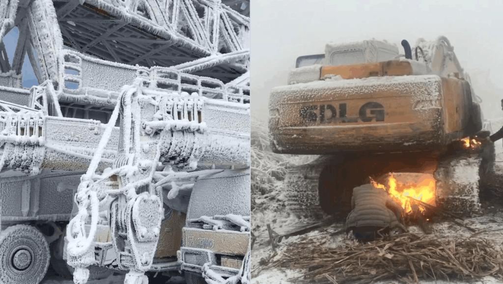 天气太寒冷吊车挖掘机都被冻住开不了工,只能用火烤的化冻