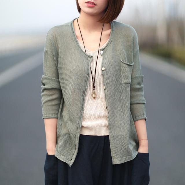 针织半身裙_亚麻针织开衫宽松舒适自然, 防晒又时尚