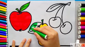 宝宝画画认颜色涂色给水果蔬菜26个字母涂颜色