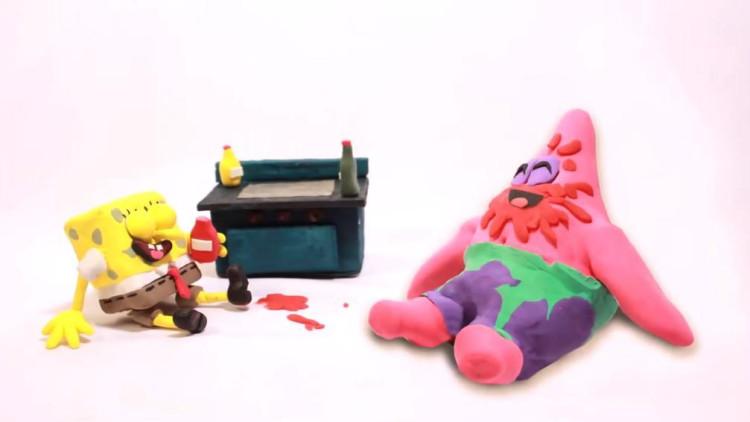 橡皮泥趣动画: 海绵宝宝和鲍勃 愉快的午餐时间 儿童益智