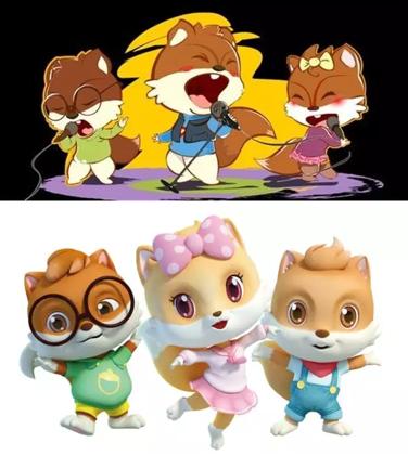 新形象颜色更加亮丽,鲜明,使三只小松鼠的形象显得更加青春,可爱;字体