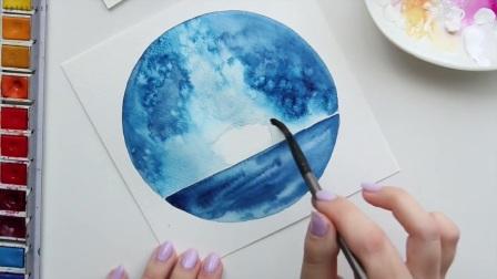 """youtube水彩画家演示三种画法 打开 [水彩]水彩画""""天空下的船"""" 广告 0"""