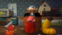 爆笑虫子: 玩海盗游戏,黄虫子被红虫子和甲壳虫揍得满头包