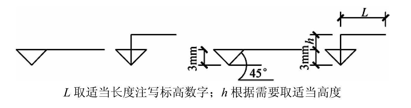 标高符号以等腰直角三角形表示,用细实线绘制.