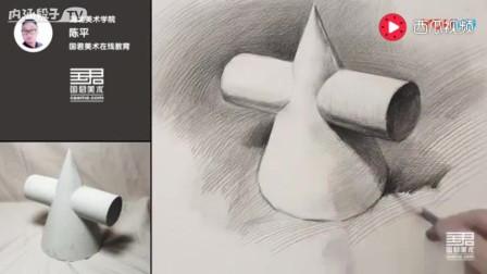 「国君美术」陈平素描静物_素描入门_画画_火龙果