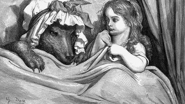 在原版《小红帽》里,狼强迫她,吃了她的**