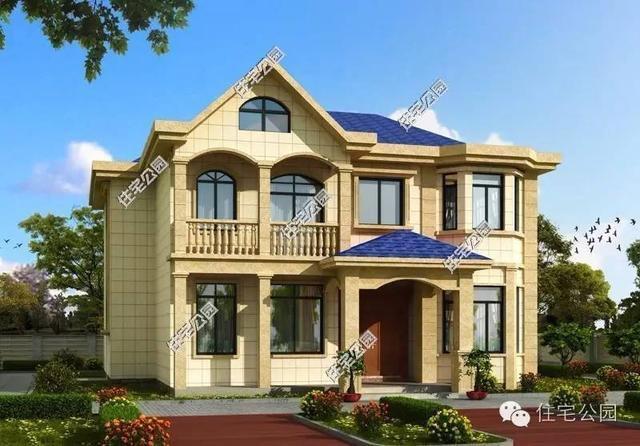 2层农村别墅13X14米, 弧形采光窗 经济实用 含预算