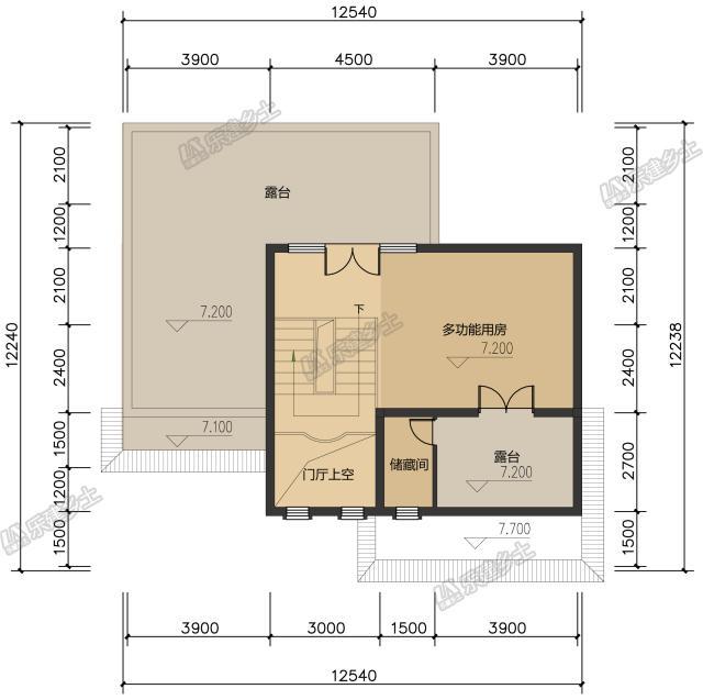 13x12米三层中式自建房设计, 通高门厅气派十足