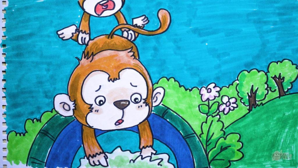 打开 神笔简笔画 童话 猴子捞月,儿童成人绘画马克笔教程大全