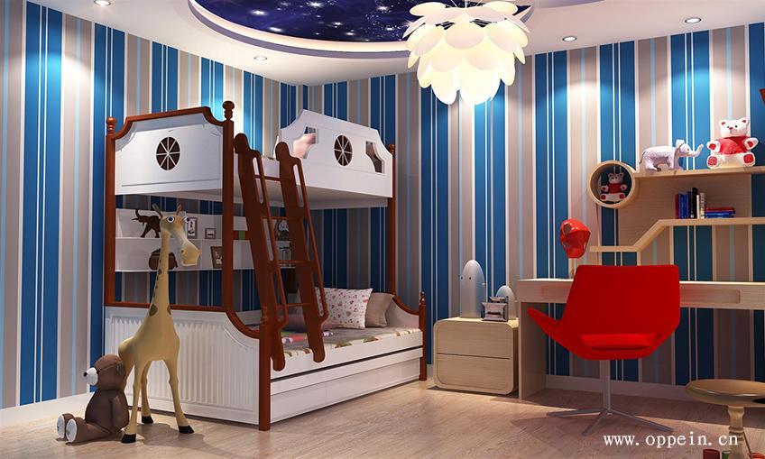 这款次卧高低床装修设计满足儿童成长需求,l型延伸书桌,给孩子足够的