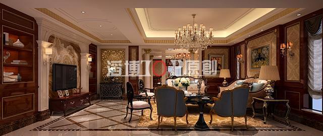 造型的隔墙装饰,大气简单的石柱装修设计,圆形的欧式花纹与圆形吊顶统