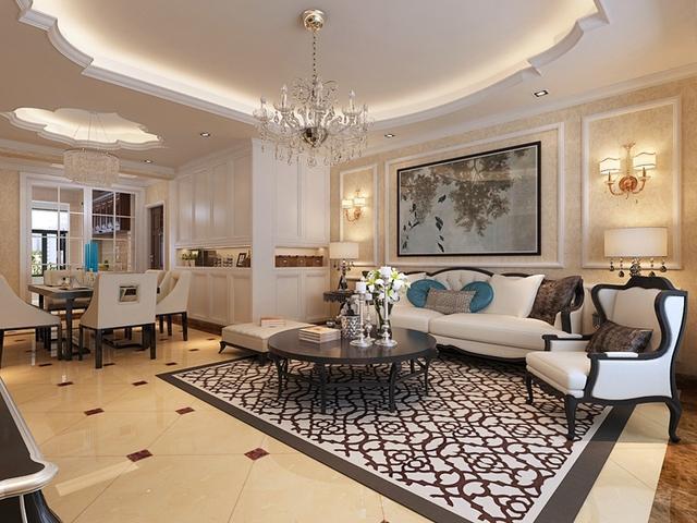 客厅设计简单大方,顶面采用精美的欧式曲线造型,柔美的线条配合