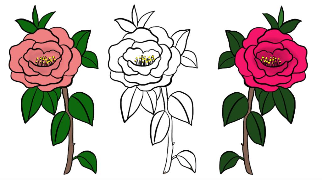 简单易学的缤纷冰淇淋简笔画教程,超简单 打开 美丽的山茶花简单画法