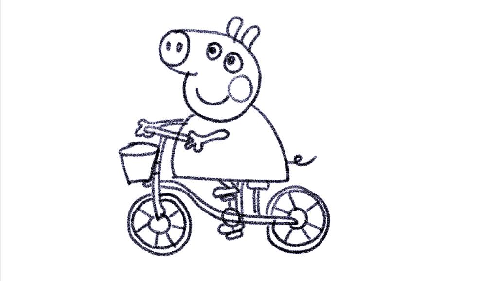 打开 打开 亲子简笔画: 骑自行车的佩奇,快和宝宝一起来画画吧 打开图片