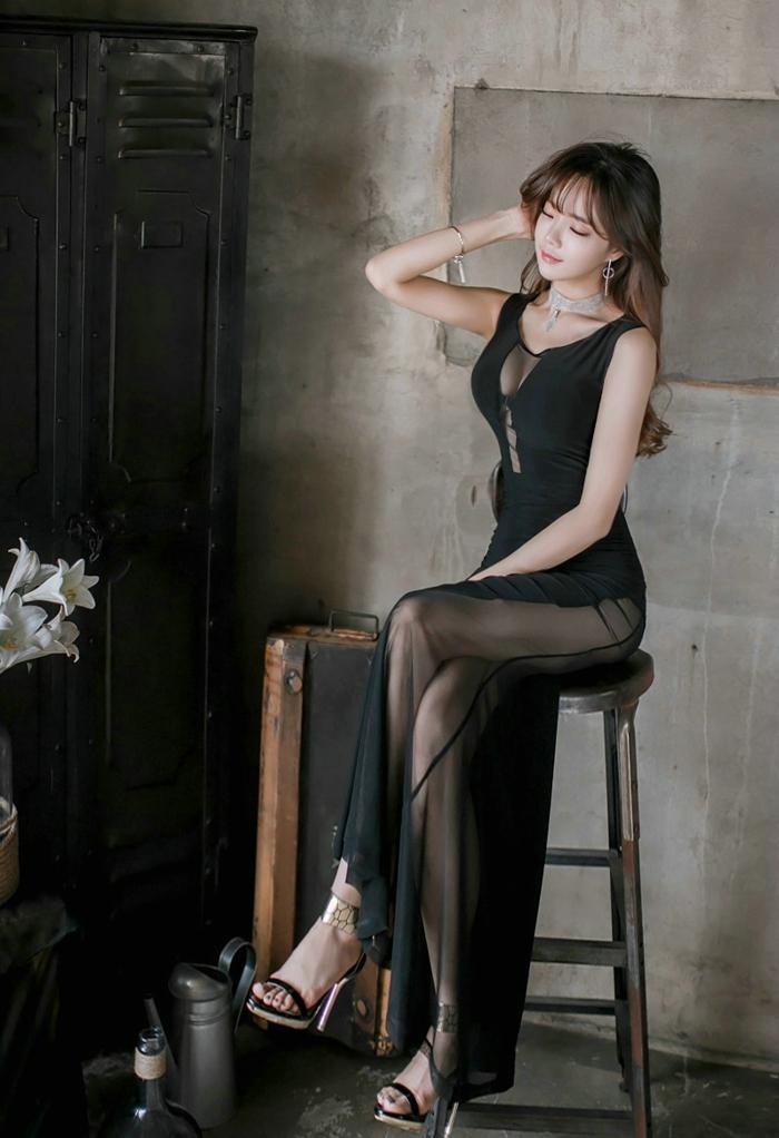 长纱裙半身裙_时尚典雅的透视黑纱裙 彰显女性柔和之美