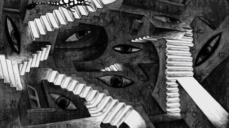 纯手绘黑白画风 超意识流 湖北美术学院 毕设作品 国产原创奇幻动画短片 视界