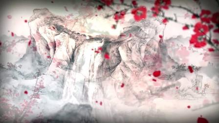 唯美中国风桃花飞舞 花瓣水墨背景超高清视频素材
