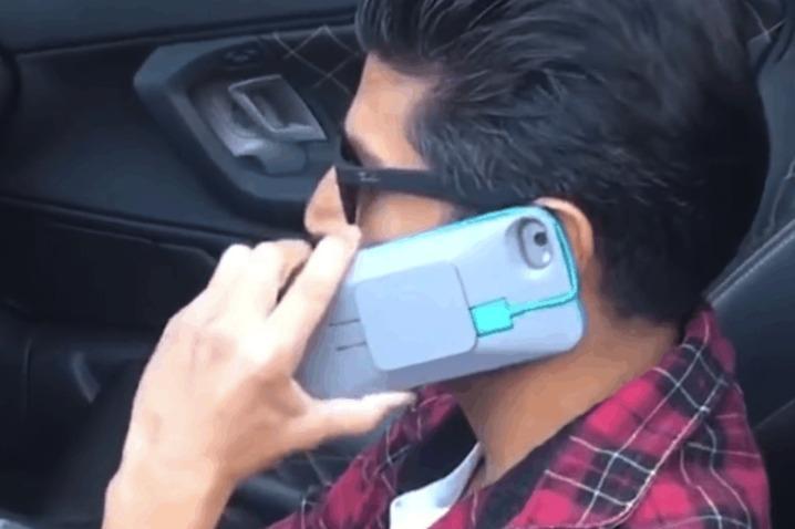 为了方便充电,居然在手机壳中加上了手机充电器