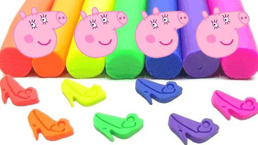 小猪佩奇猪妈妈培乐多 彩泥手工制作彩色高跟鞋
