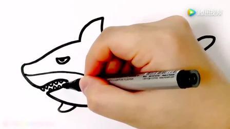 益智早教: 幼儿学简笔画画漂亮蓝色大海鲸鱼, 丰富想象力!