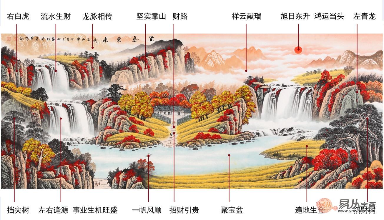b款聚宝盆山水画:李林宏国画客厅山水画作品《紫气东来》作品来源:易