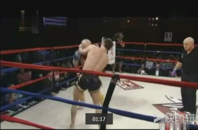 武僧一龙重拳威力不逊泰森,一拳把美国壮汉击出拳台