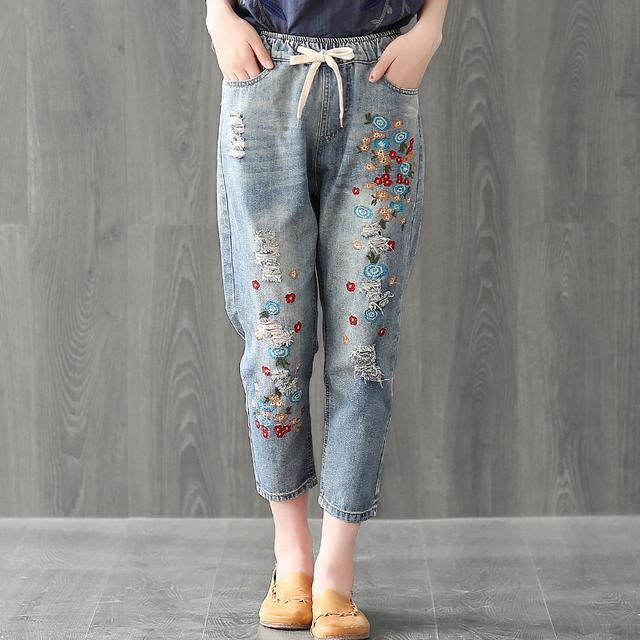 棉麻T恤+牛仔哈伦裤, 50岁的妈妈买了两套, 时尚也更年轻了 7