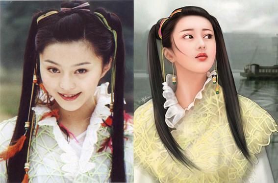 女星手绘古装, 闫妮前后差距大, 霍思燕刘亦菲本人比手绘美!