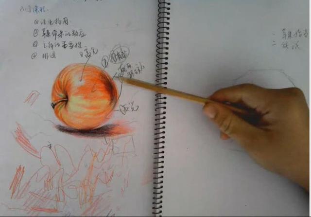 彩铅画苹果-插画师手绘训练-瓜果